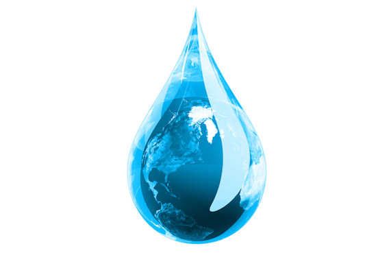 animated image of earth in a large drop of water
